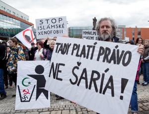 Demonstraci přihlíželo kolem 300 lidí. Foto: Luboš Hostek